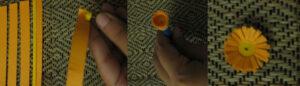 Существуют специальные бумажные полоски для квиллинга, которые тоже подойдут для изготовления цветов и корзинки. Если у вас нет специального инструмента, который используется в квиллинге, то можно взять деревянный шампур